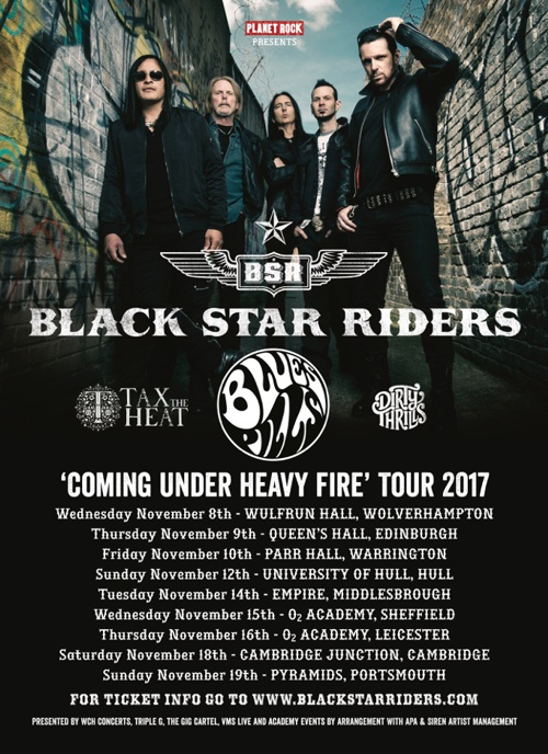 Black Star Riders - Coming Under Heavy Fire 2017 UK tour